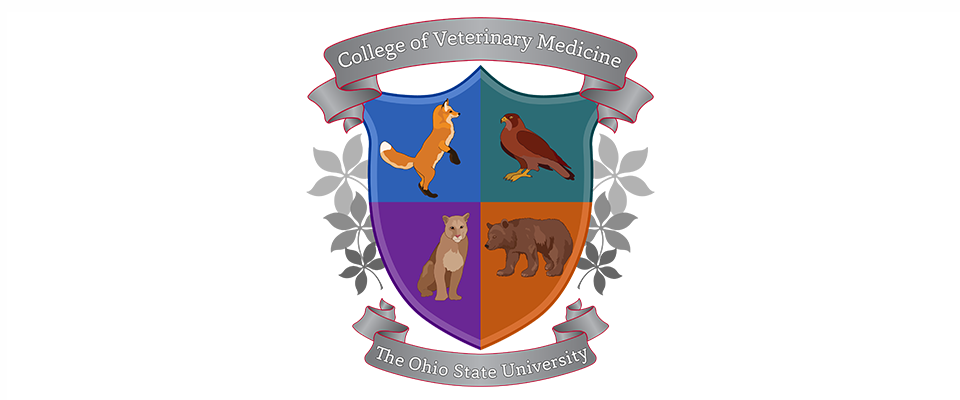 coat of arms with College of Veterinary Medicine at top, images of fox, hawk, mountain lion and bear, The Ohio State University at the bottom