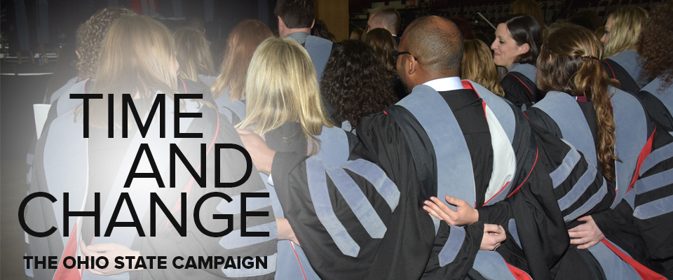 photo of college of veterinary students from behind in graduation robes and hoods, arms linked, with words Time and Change, The Ohio State Campaign