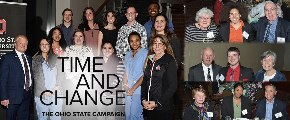 photo collage of veterinary students with donors who created scholarships and the words Time and Change, The Ohio State University Campaign