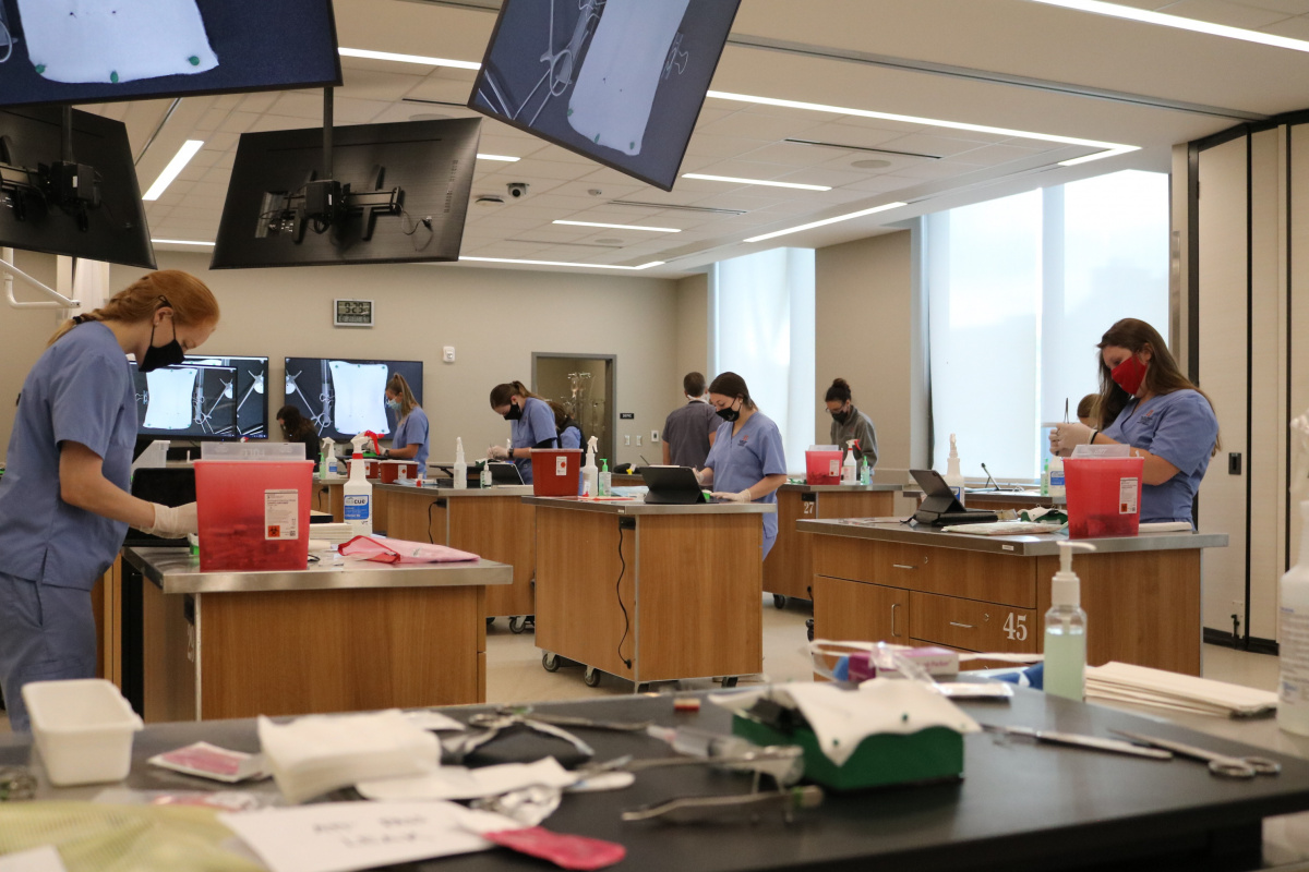 photo of students in clinical skills lab working on suturing skills