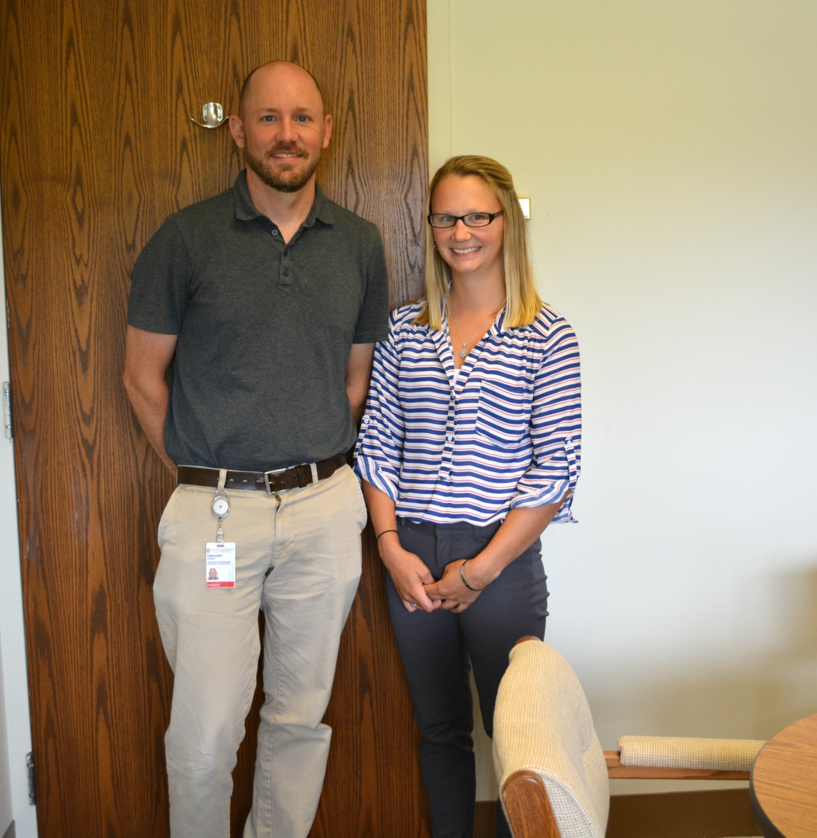 Dr Greg Habing, assistant professor in the Department of Veterinary Preventive Medicine, and second-year student Keirsten Harris.