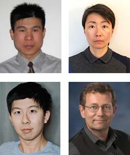 square photo collage of researchers, (clockwise from top left) Dr. Jianrong Li, Dr. Mijia Lu, Mr. Anzhong Li, and Dr. Stefan Niewiesk.
