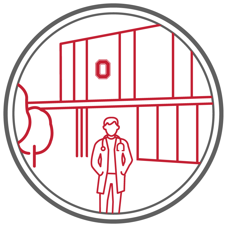 line drawing icon of male veterinary student in white coat with stethoscope standing in front of veterinary clinic with block O signage