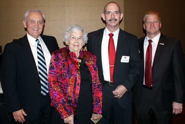 At the reception for the Tharp Professorship, from left, Dr. Lonnie King, Mrs. Grace Tharp, Dr. Jeff Lakritz, Dr. Rustin Moore