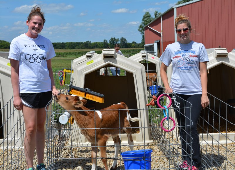 Second-year students Hannah Manning (left) and Emily Cosentino (right) at Waterman Dairy Center
