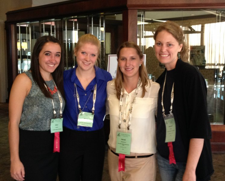 (L to R) Third-year students Ellen Puthoff, Alina Osowski, Sarah Wahlstrom and Kanyon McLean at the AAZV's 2015 Annual Conference