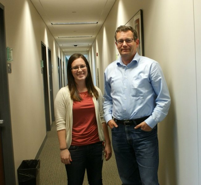 Sarah Linn, left, and Dr. Stefan Niewiesk, right.