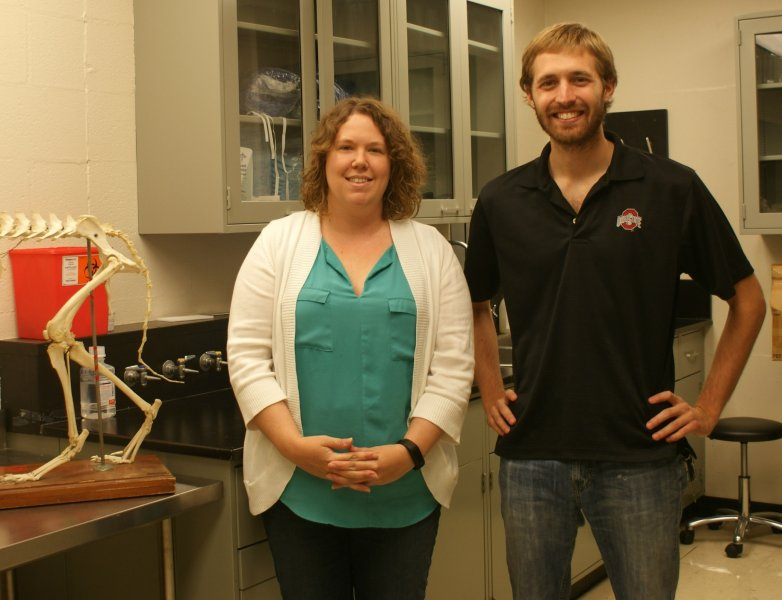 Dr. Sarah Moore and third-year veterinary student Andrew Muir