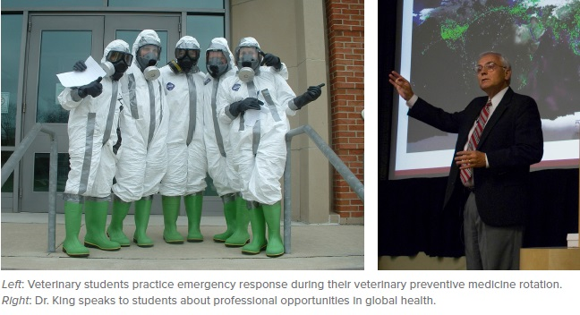 Left: Veterinary students practice emergency response during their veterinary preventive medicine rotation. Right: Dr. King speaks to students about professional opportunities in global health.
