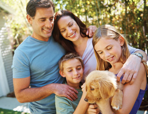 Picture of a family with their dog